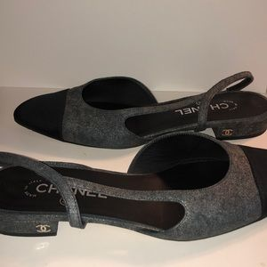 CHANEL Shoes - CHANEL Silver Tone/Black Suede Cap-Toe Mules 40.5